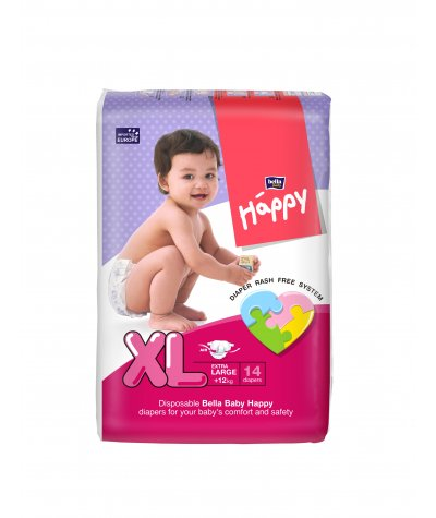 BELLA BABY HAPPY DIAPERS EXTRA LARGE 14 PCS