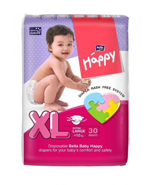 BELLA BABY HAPPY DIAPERS EXTRA LARGE 30 PCS