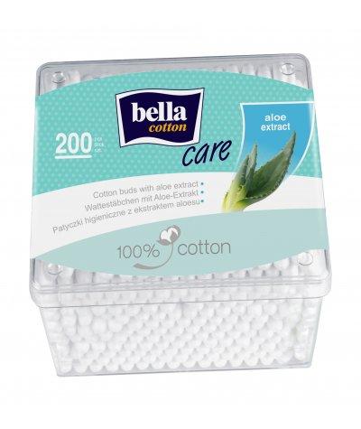 BELLA COTTON BUDS WITH ALOE VERA EXTRACT PLASTIC BOX 200 PCS