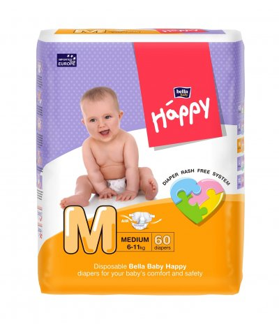 BELLA BABY HAPPY DIAPERS MEDIUM 60 PCS
