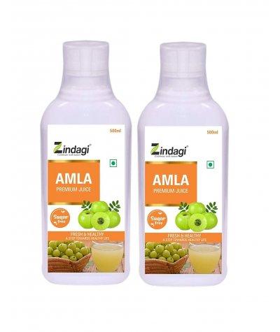 Zindagi Pure Amla Juice - Natural Minerals & Vitamins - Sugar-Free Herbal Health Drink (1000 ml)
