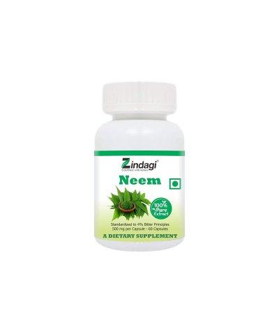 Zindagi 100% Pure Neem Extract Capsules - Dietary Supplement - Anti Bacterial Properties (60 Caps Pack of 2)