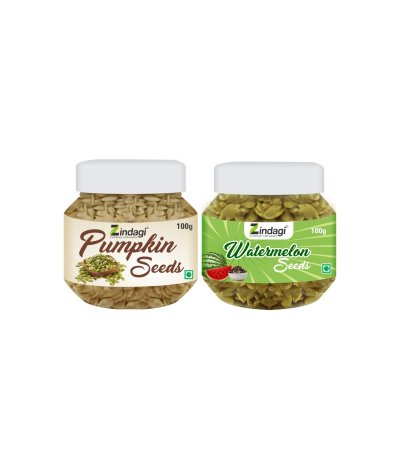 Zindagi Pumpkin Seeds With Watermelon Seeds - Low Calorie Seeds 200gm (Combo Offer)