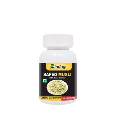 Zindagi Safed Musli Pure Extract Capsules - Improves Strength & Stamina (60 Capsules)