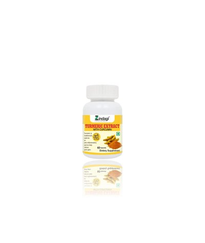 Zindagi Turmeric Extract Capsules With Curcumin - Maintain Healthy Joints - Powerful Antioxidant(60 Capsules)