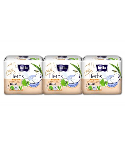 BELLA HERBS SANITARY PADS  SENSITIVE WITH PLANTAGO 12 PCS PACK OF 3
