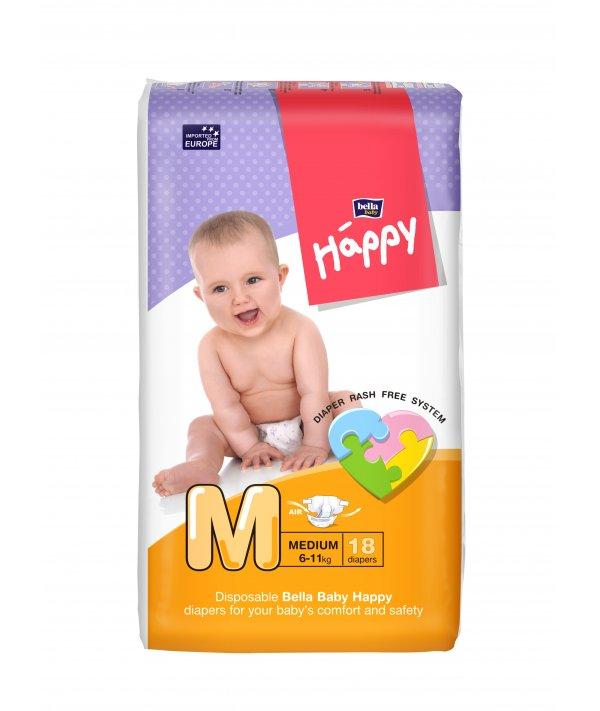 BELLA BABY HAPPY DIAPERS MEDIUM 18 PCS