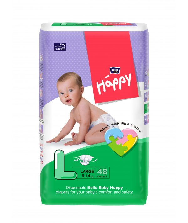 BELLA BABY HAPPY DIAPERS LARGE 48 PCS