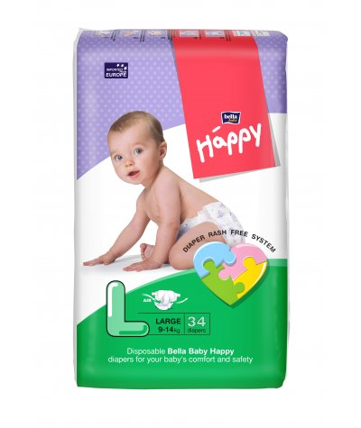 BELLA BABY HAPPY DIAPERS LARGE 34 PCS