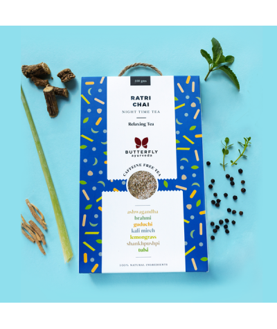Butterfly Ayurveda Ratri Chai (Night Time Tea) Herbal Infusion for relaxation and detoxification