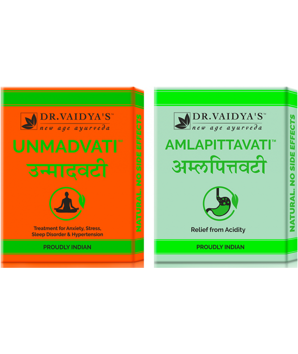 Dr Vaidya - Acidity/Hypertension/Anxiety Pack (Unmadvati- 72 Pills and Amlapittavati - 72 Pills)