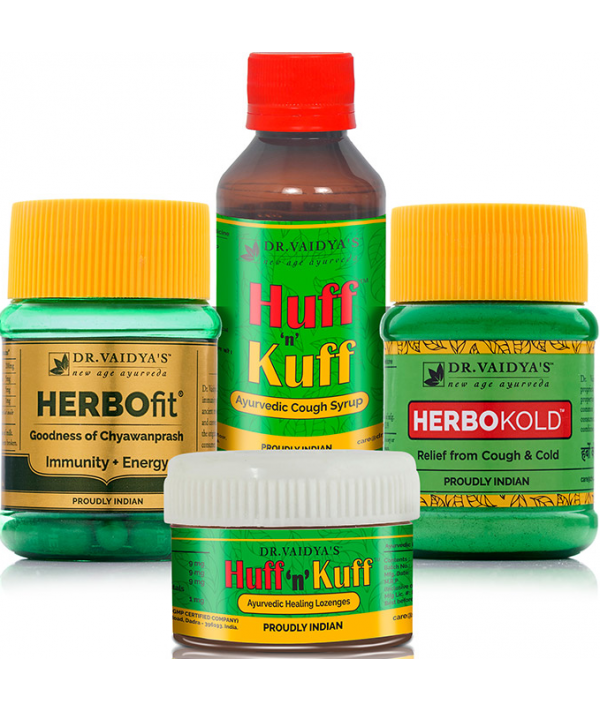 Dr Vaidya - Cough & Cold  Pack (Herbofit - 30 Capsules, Huff N Kuff Lozenges - 50 Pills, Huff N Kuff Syrup - 200 ML and Herbokold - 100 Gms)