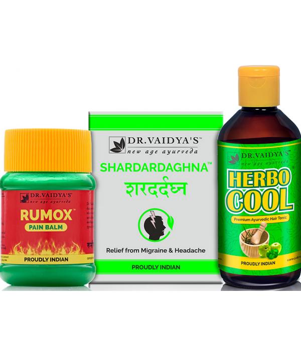 Dr Vaidya - Headache Pack (Shardardaghna 72 Pills, Herbocool - 200 ML and Rumox - 50 Gms)