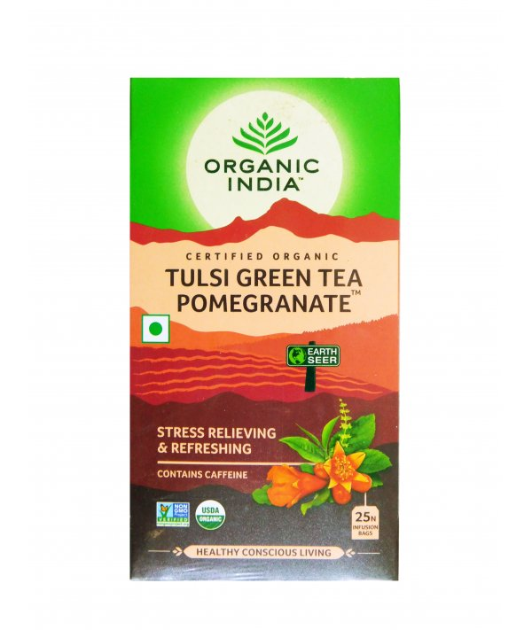 Organic India Tulsi Green Tea Pomeogranate
